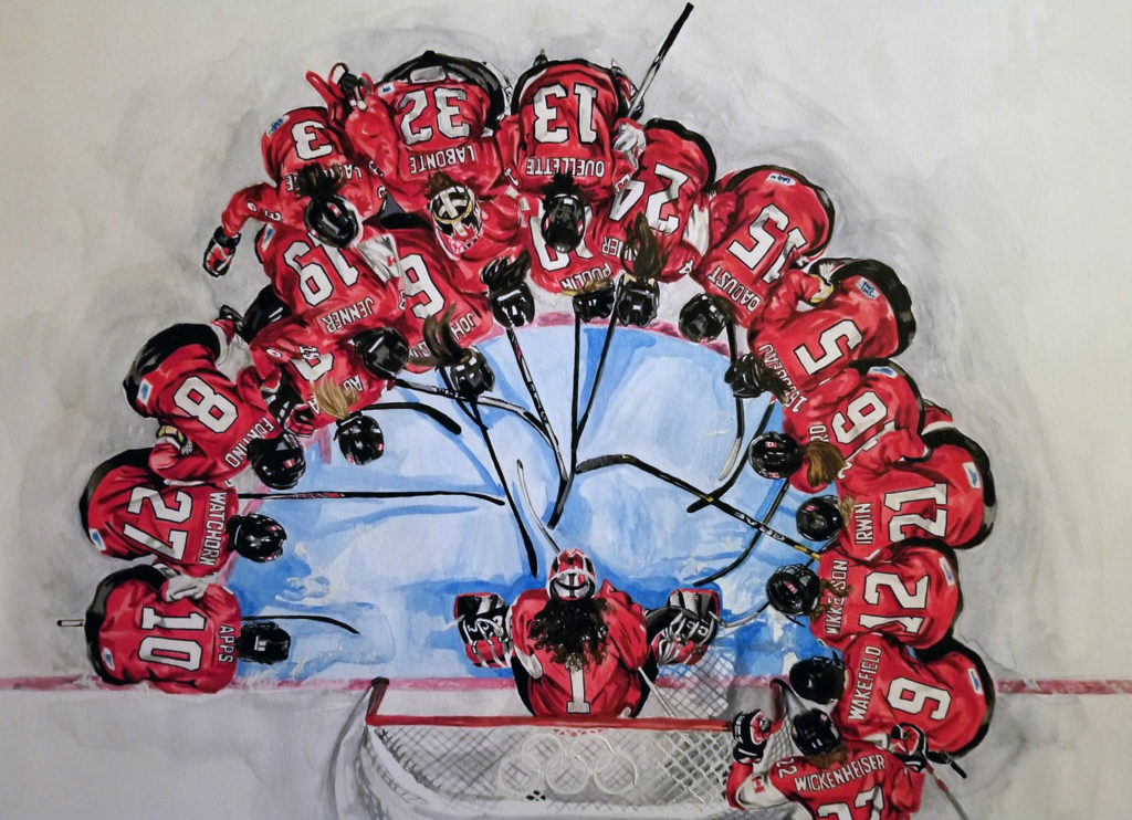 Canadian Women's National Team huddle prior to the gold medal women's hockey game at the Sochi Olympics, 2014. Watercolour on paper with red highlights.