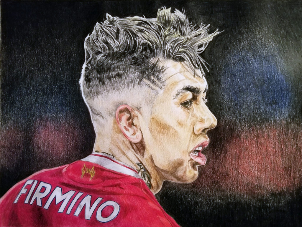 Side view portrait of Roberto Firmino wearing a Liverpool FC home kit. Pencil crayon drawing with red and black highlights.