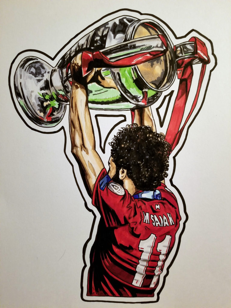 Pen and ink drawing of Mo Salah lifting the Champions League trophy. Viewed from behind. Red and silver highlights.
