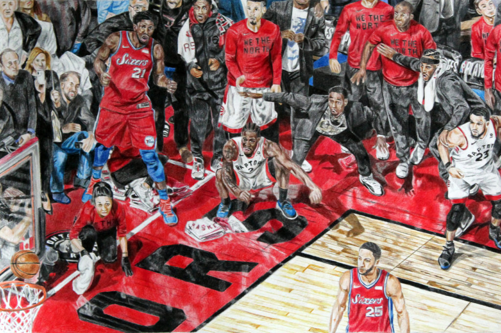 Kawhi Leonard's series-winning shot against Philadelphia, including player and crowd reactions. Pencil crayon on paper with black, blue, and red highlights.