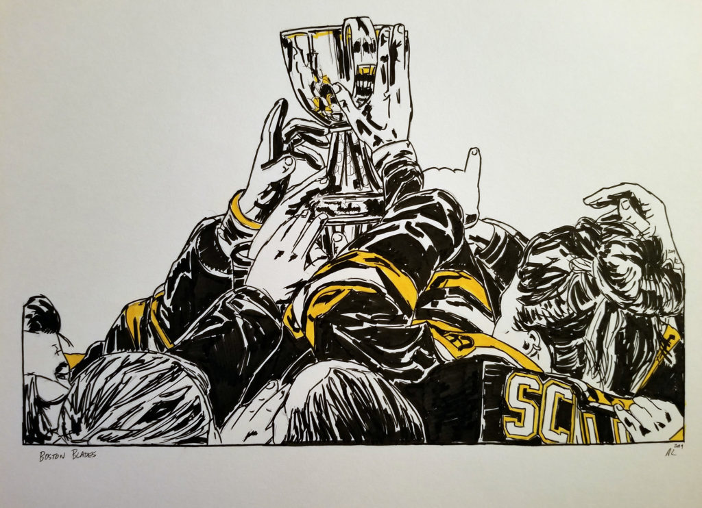 pen and ink drawing of the Boston Blades celebrating with the Clarkson Cup. Yellow highlights.