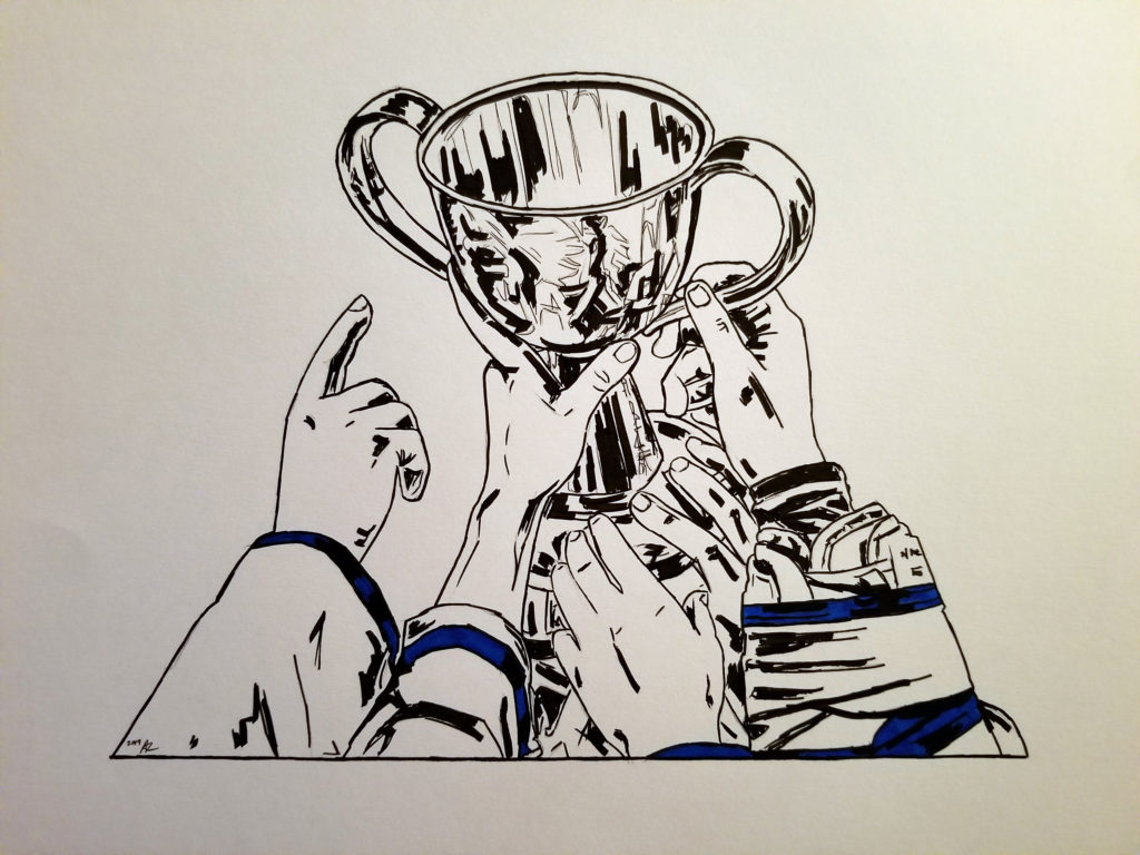 Pen and ink drawing of Furies players celebrating with the Clarkson Cup. Detail of hands and Cup. Blue highlights.