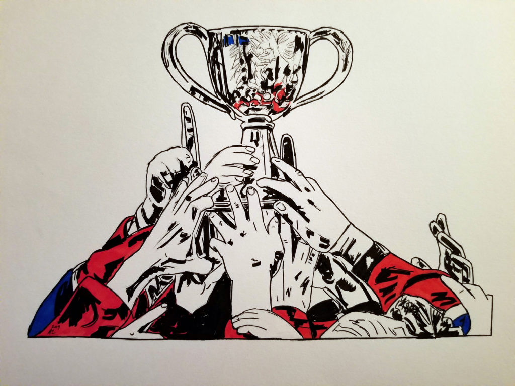 Pen and ink drawing of Les Canadiennes players celebrating with the Clarkson Cup. Detail of hands and Cup. Red and blue highlights.