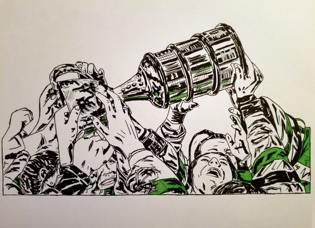 Pen and ink drawing of the Thunder celebrating with the Clarkson Cup. Detail of hands and Cup. Green highlights.