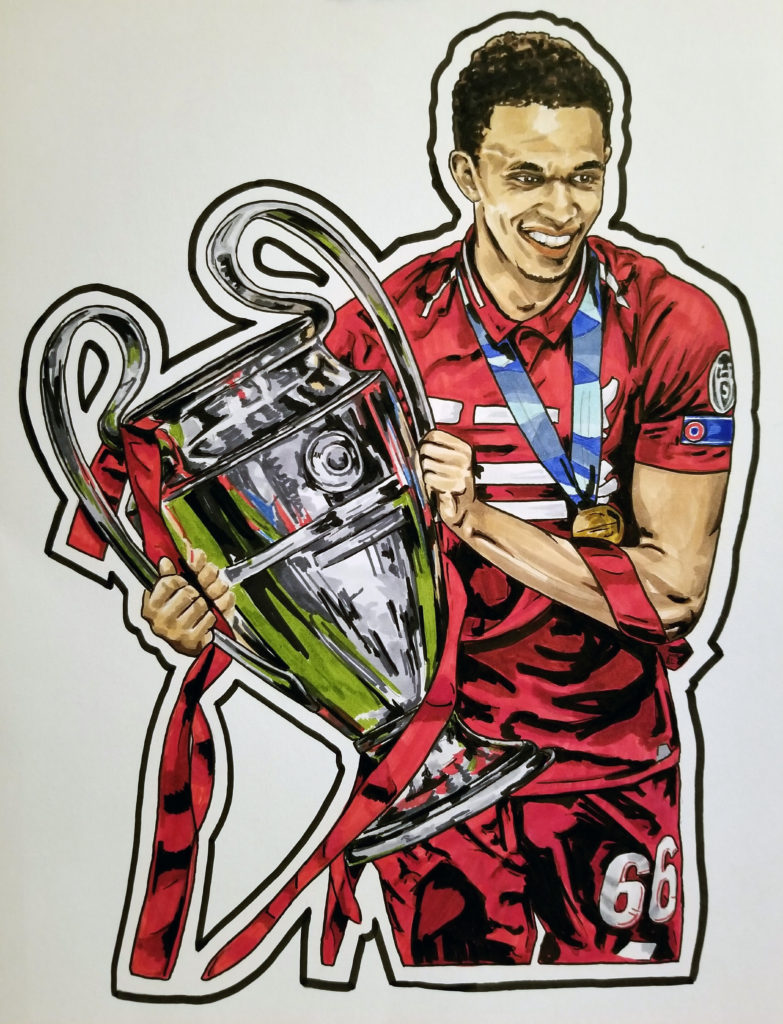Pen and ink portrait of Trent Alexander-Arnold celebrating with the Champions League Trophy. Red highlights.
