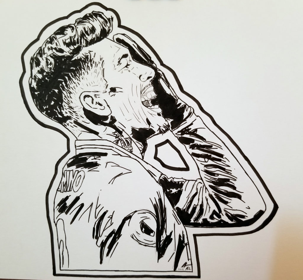Portrait of Roberto Firmino celebrating a goal by covering his eye with his hand. Pen and ink drawing.