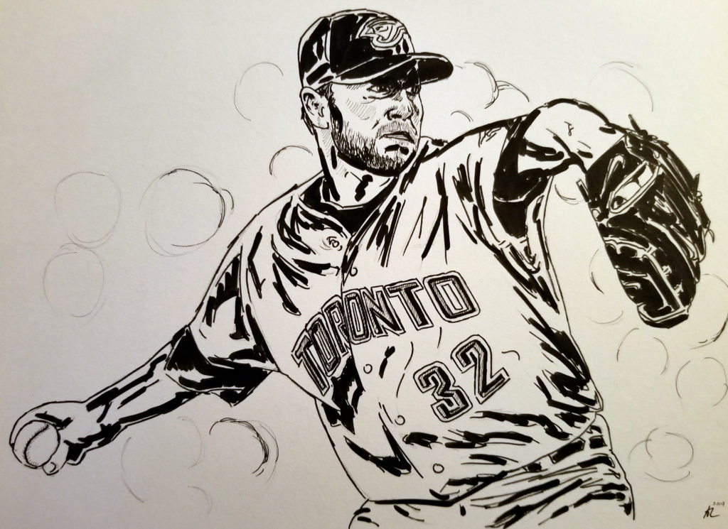 Portrait of Roy Halladay throwing a pitch. Pen and ink.