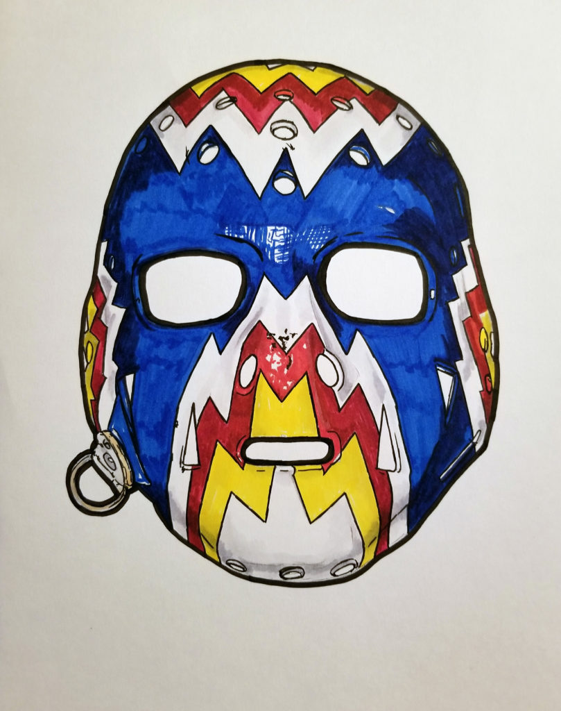 Drawing of Favell's Colorado mask, with red, yellow, and blue highlights.