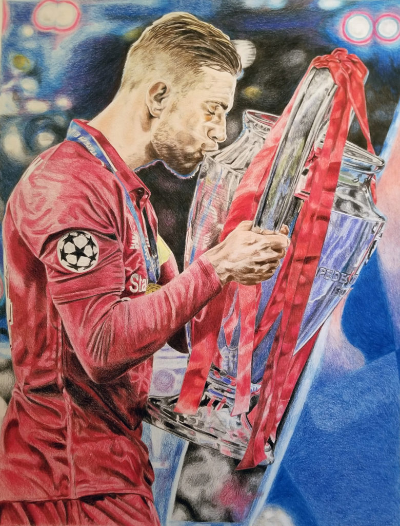 Portrait of Jordan Henderson kissing the Champions League trophy. Pencil crayon on paper, with red and blue highlights.
