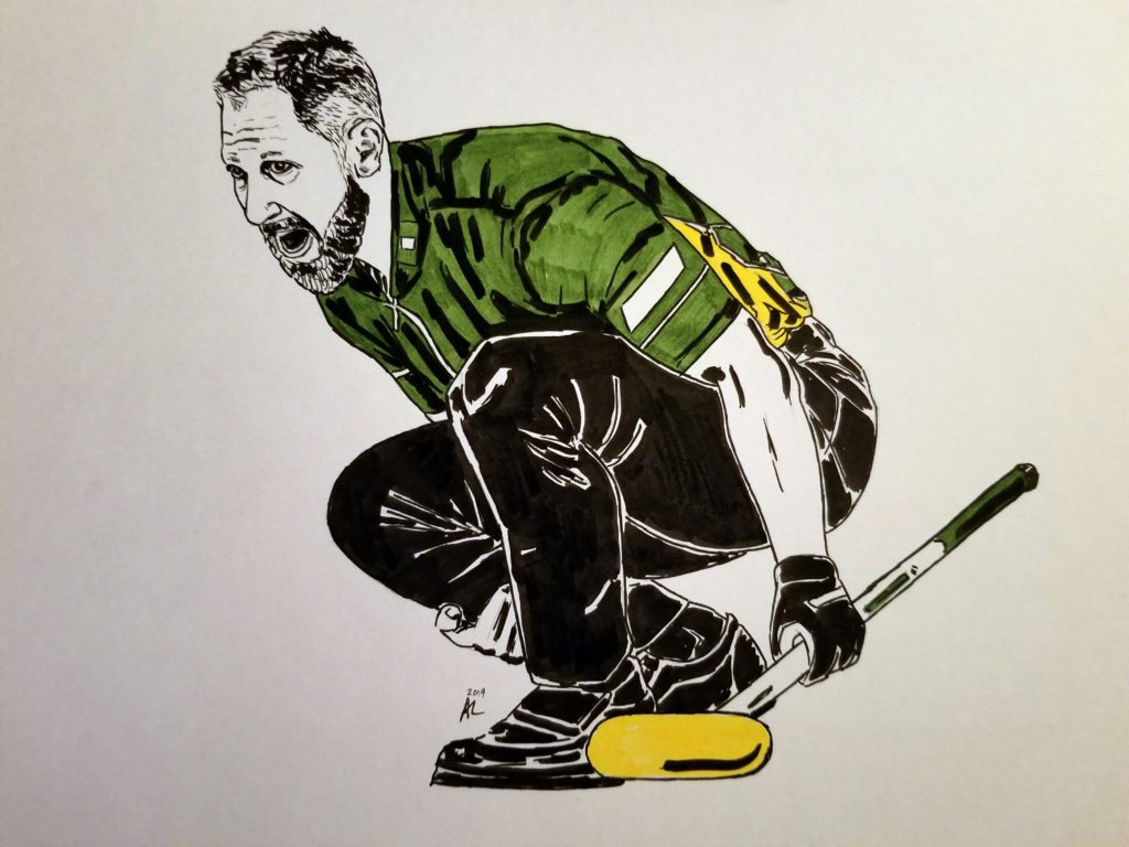 Portrait of Brad Jacobs holding a curling broom. Pen and ink drawing with green and yellow highlights.