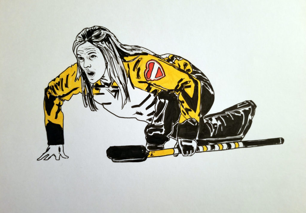 Drawing of Jennifer Jones kneeling on the ice, holding a broom, and yelling instructions. Pen and ink portrait with yellow highlights.