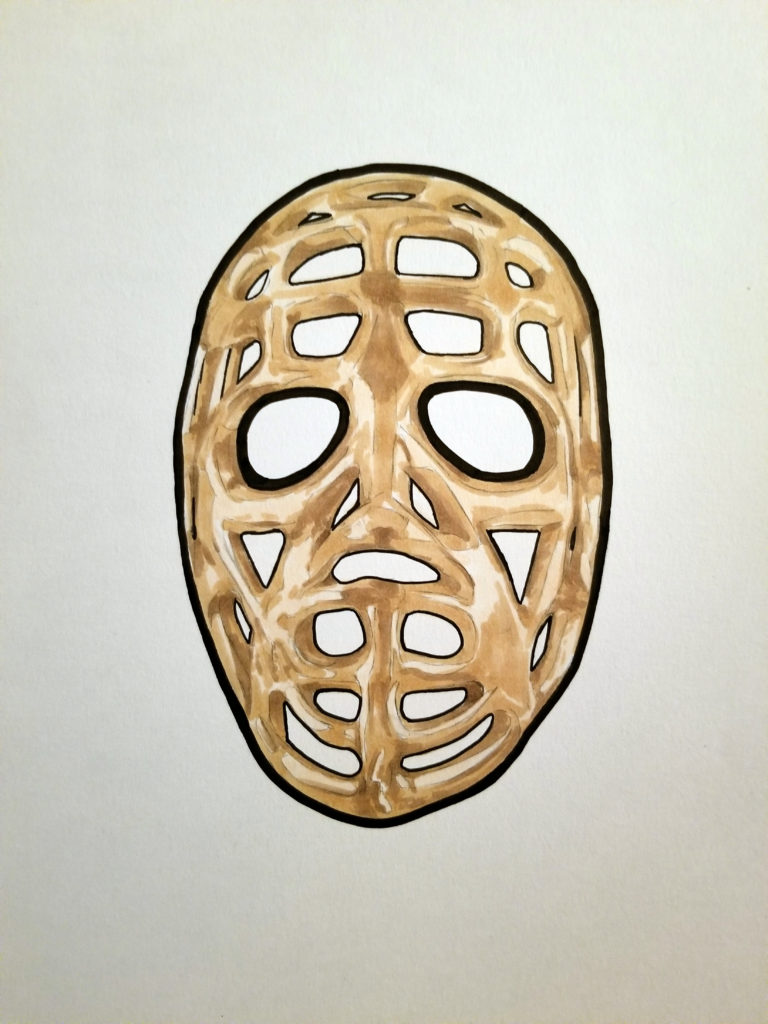 Drawing of Jacques Plante's pretzel bar mask. Pen and ink with beige highlights.