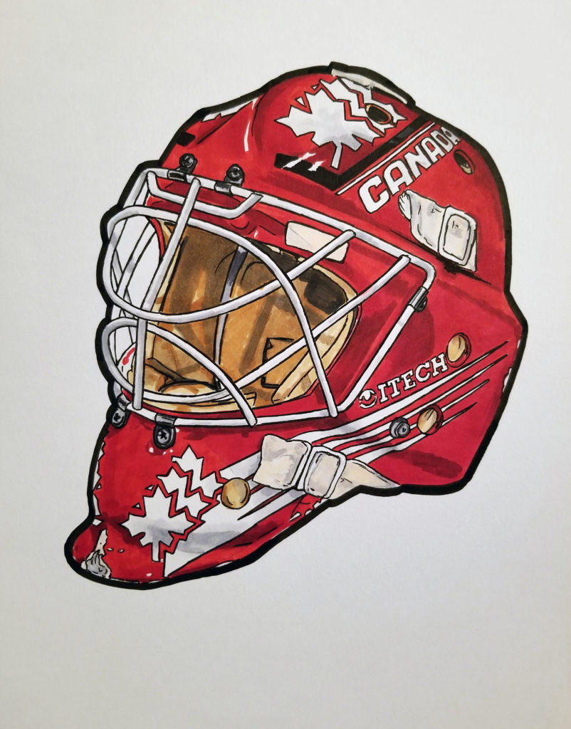 Rheaume's Team Canada mask. Pen and ink drawing with red highlights.