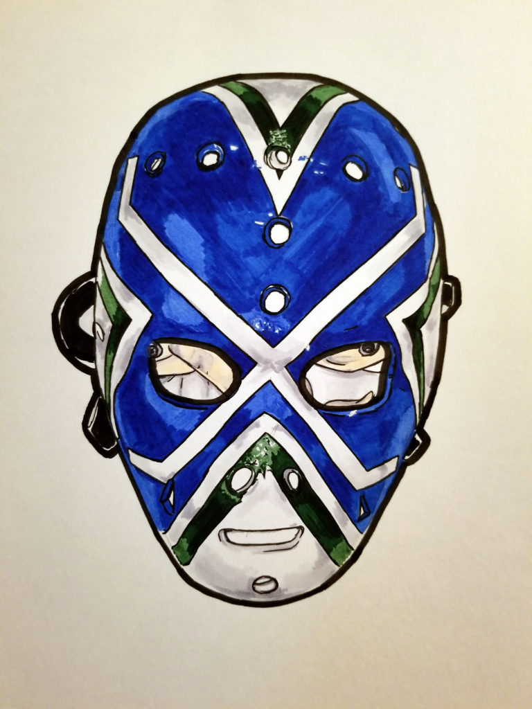 Drawing of Curt Ridley's Vancouver mask. Pen and ink on paper with blue and green highlights.