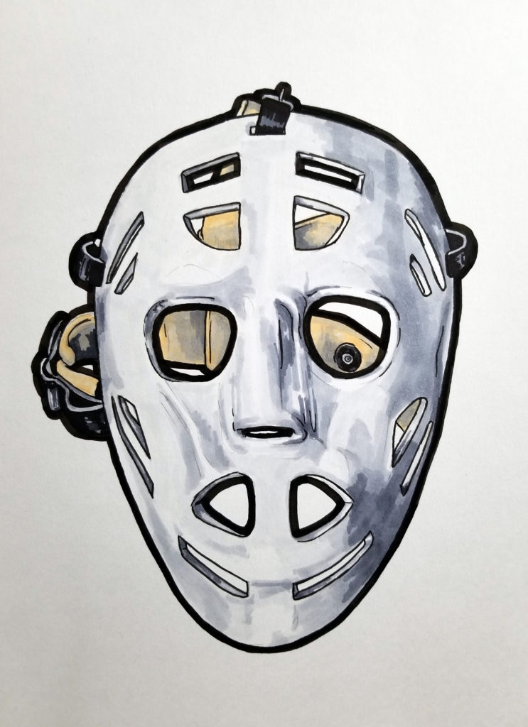 A series of goalie masks from various teams.