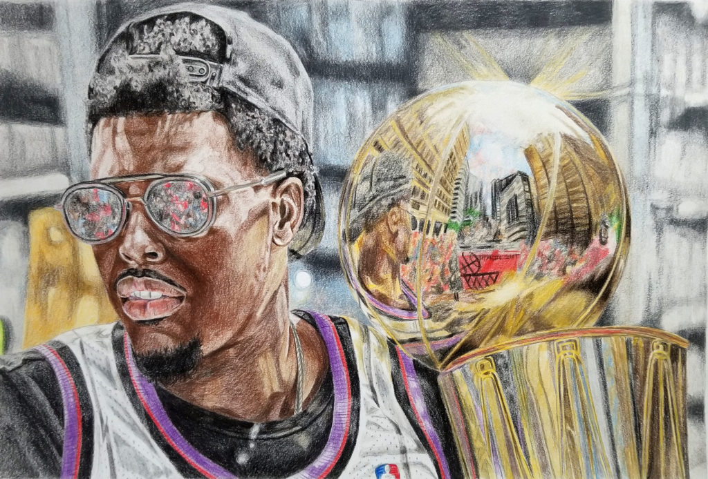 Portrait of Kyle Lowry at the Raptors victory parade holding the Larry O'Brien trophy. The light is hitting the trophy and shows a reflection of Lowry and the crowd. Pencil crayon on paper with brown, black, purple, and gold highlights.