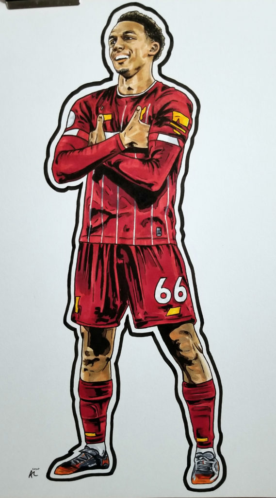 Alexander-Arnold celebrating a goal with his arms crossed, like Mbappe. Pen and ink on paper with red and yellow highlights.