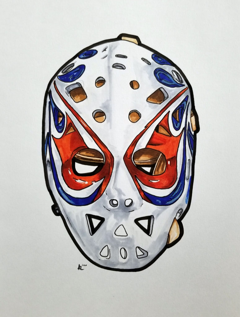Drawing of Dave Dryden's Edmonton mask. Pen and ink on paper with orange and blue highlights.
