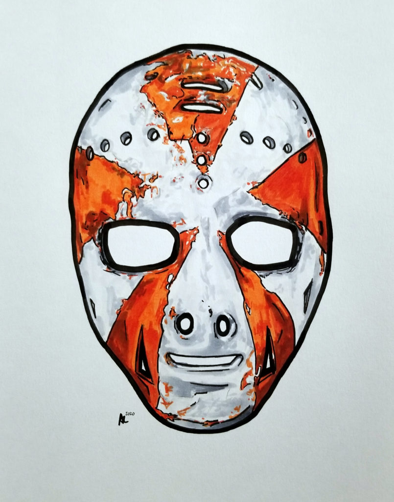"Drawing of Doug Favell's Philadelphia ""starburst"" mask design.  Pen and ink on paper with orange highlights."