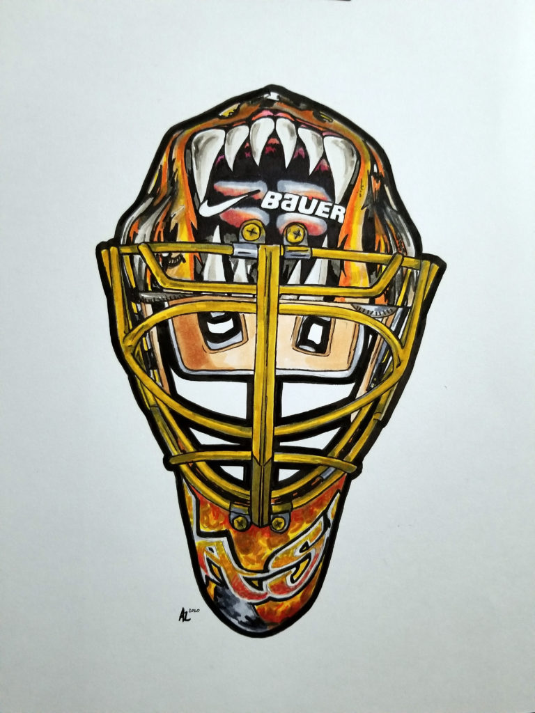 Drawing of Tuukka Rask Boston mask. Pen and ink on paper with gold highlights.