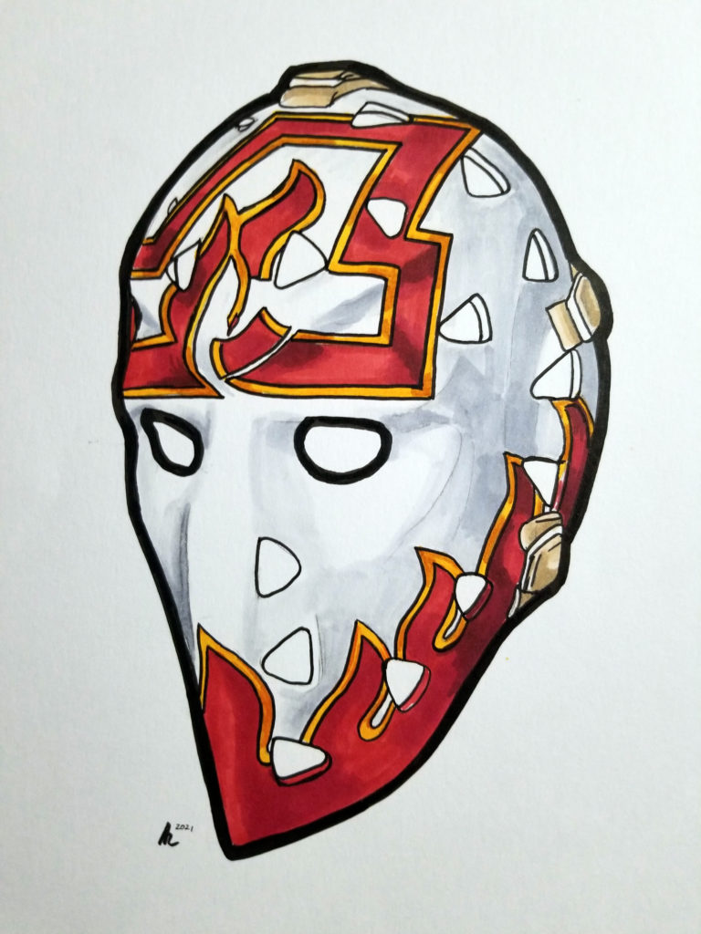 Hand drawn pen and ink mask.